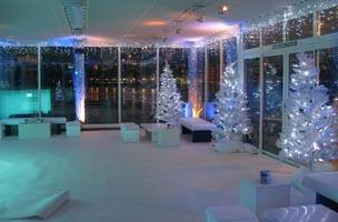 The venue decorated for a Christmas party